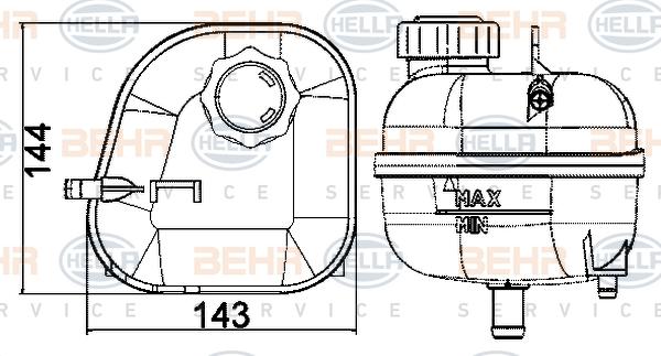 Vase d'expansion HELLA 8MA 376 737-184 (X1)