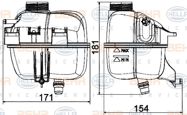 Vase d'expansion HELLA 8MA 376 737-224 (X1)