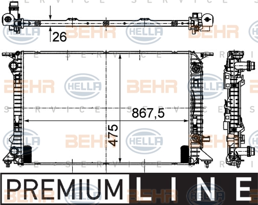 Radiateur de refroidissement HELLA 8MK 376 745-631 (X1)