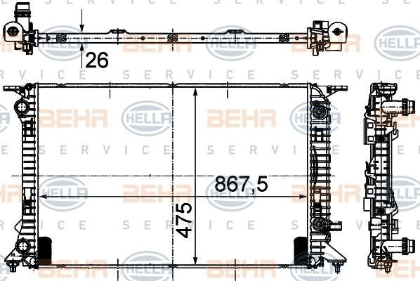 Radiateur de refroidissement HELLA 8MK 376 745-634 (X1)