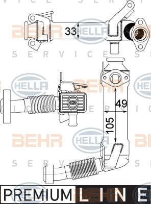 Refroidisseur d'echappement HELLA 8ME 376 750-761 (X1)