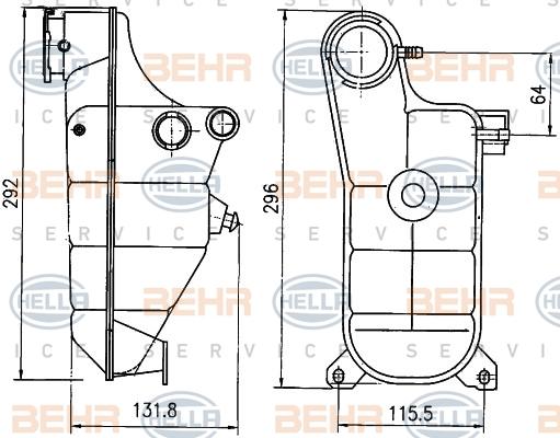 Vase d'expansion HELLA 8MA 376 755-151 (X1)