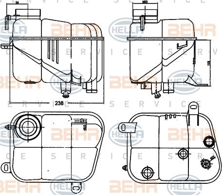 Vase d'expansion HELLA 8MA 376 755-161 (X1)