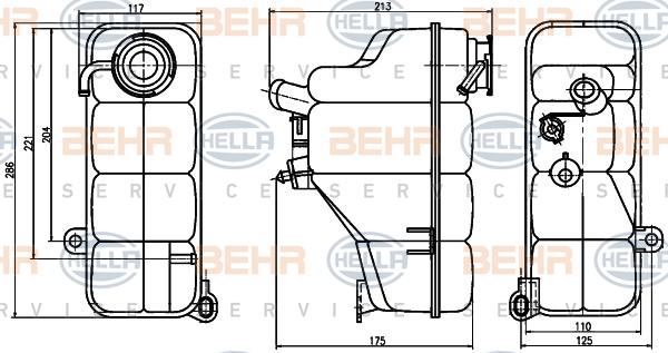 Vase d'expansion HELLA 8MA 376 755-191 (X1)