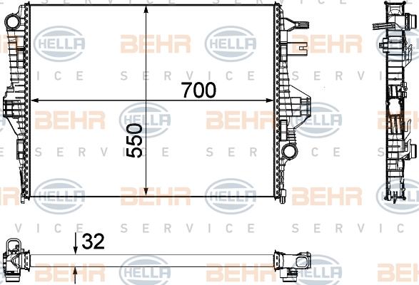 Radiateur de refroidissement HELLA 8MK 376 756-341 (X1)
