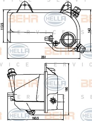 Vase d'expansion HELLA 8MA 376 789-721 (X1)