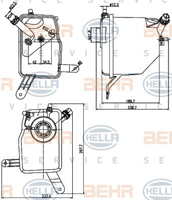 Vase d'expansion HELLA 8MA 376 789-731 (X1)