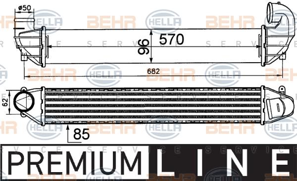 Intercooler radiateur de turbo HELLA 8ML 376 911-411 (X1)