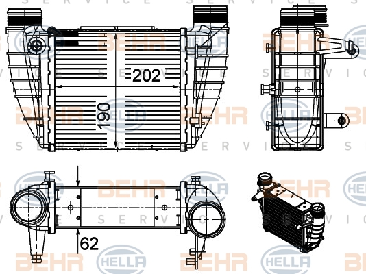 Intercooler radiateur de turbo HELLA 8ML 376 988-044 (X1)