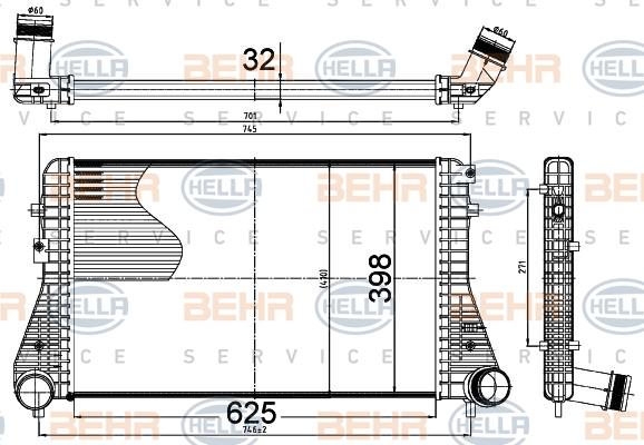 Intercooler radiateur de turbo HELLA 8ML 376 988-504 (X1)