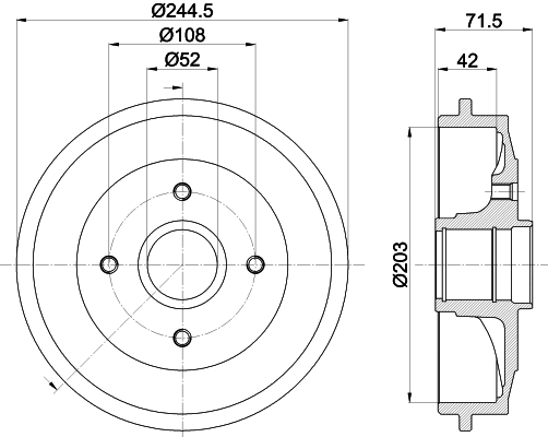 Tambour de frein arriere HELLA 8DT 355 300-591 (X1)