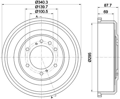 Tambour de frein arriere HELLA 8DT 355 302-621 (X1)