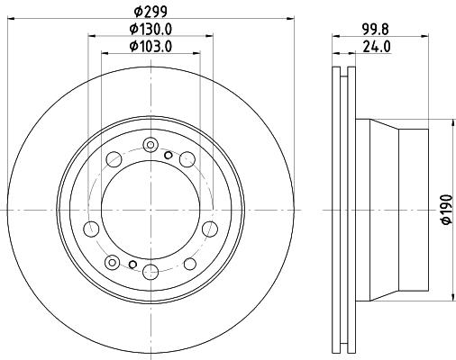 Disque de frein arriere HELLA 8DD 355 102-321 (Jeu de 2)