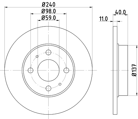 Disque de frein HELLA 8DD 355 103-151 (Jeu de 2)