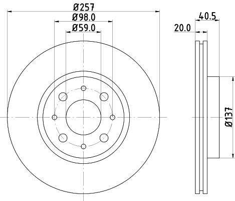 Disque de frein avant HELLA 8DD 355 103-871 (Jeu de 2)