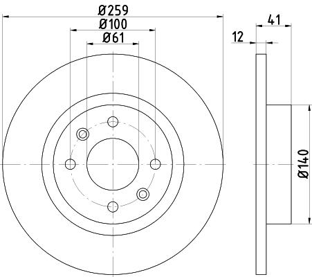Disque de frein avant HELLA 8DD 355 115-271 (Jeu de 2)