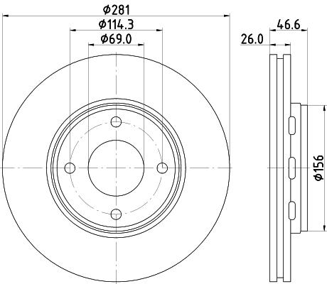 Disque de frein avant HELLA 8DD 355 116-531 (Jeu de 2)