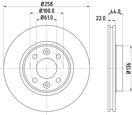 Disque de frein avant HELLA 8DD 355 119-461 (Jeu de 2)