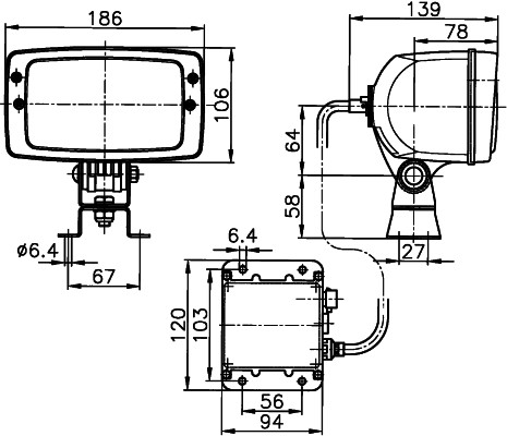 Projecteur de travail optique HELLA 1GB 996 147-061 (X1)