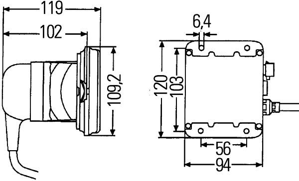 Projecteur de travail optique HELLA 1GB 996 148-041 (X1)