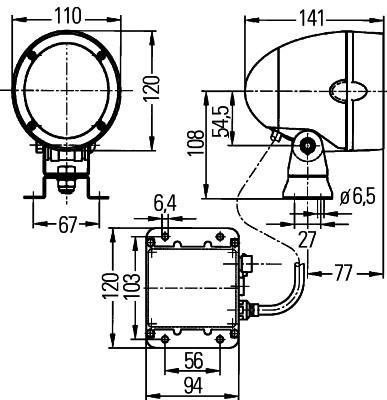 Projecteur de travail optique HELLA 1GM 996 135-001 (X1)