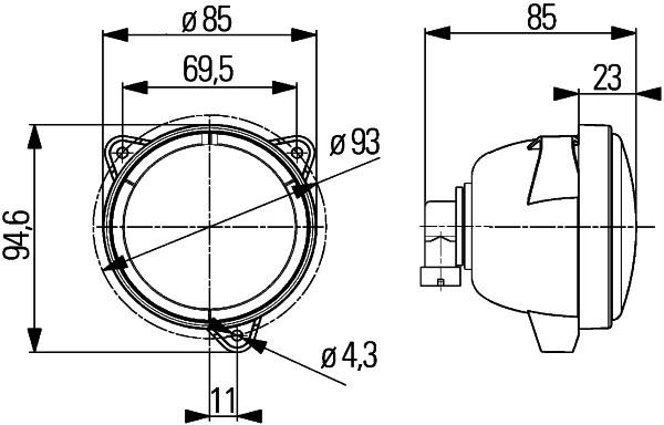 Projecteur de travail optique HELLA 1G0 996 176-061 (X1)