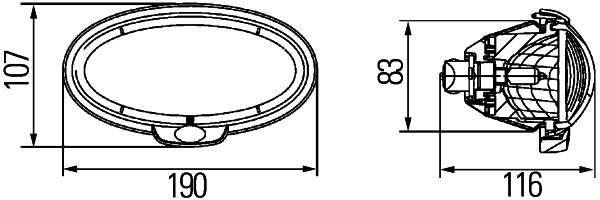 Projecteur de travail optique HELLA 1GB 996 186-061 (X1)