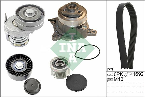 Pompe à eau + jeu de courroie d'accessoires INA 529 0039 30 (X1)