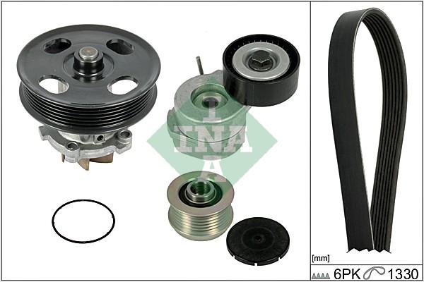 Pompe à eau + jeu de courroie d'accessoires INA 529 0042 30 (X1)