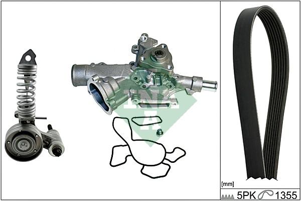Pompe à eau + jeu de courroie d'accessoires INA 529 0047 30 (X1)