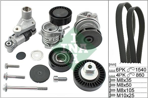 Pompe à eau + jeu de courroie d'accessoires INA 529 0053 30 (X1)
