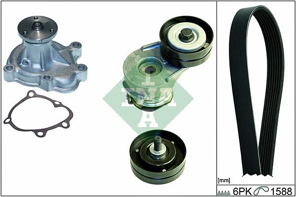 Pompe à eau + jeu de courroie d'accessoires INA 529 0056 30 (X1)