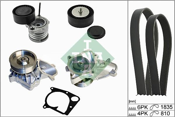 Pompe à eau + jeu de courroie d'accessoires INA 529 0111 30 (X1)