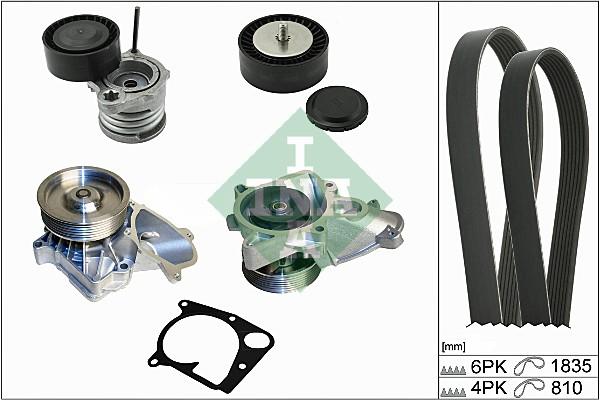 Pompe à eau + jeu de courroie d'accessoires INA 529 0112 30 (X1)