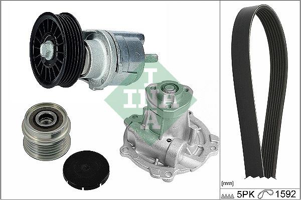 Pompe à eau + jeu de courroie d'accessoires INA 529 0162 30 (X1)