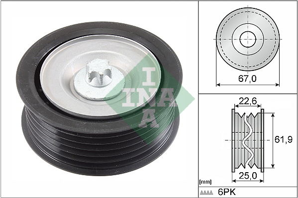 Galet enrouleur accessoires INA 532 0866 10 (X1)