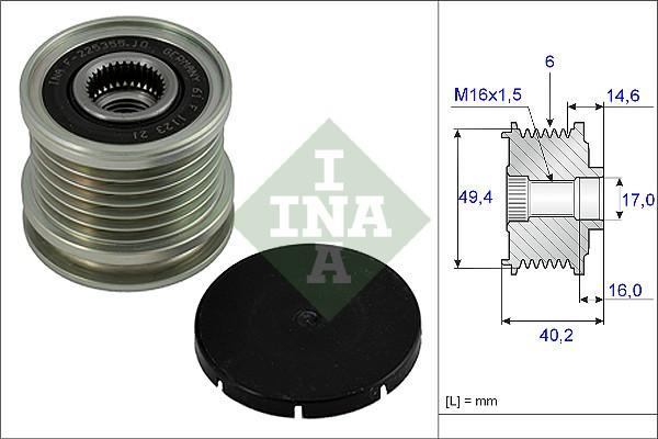 Poulie d'alternateur INA 535 0001 10 (X1)