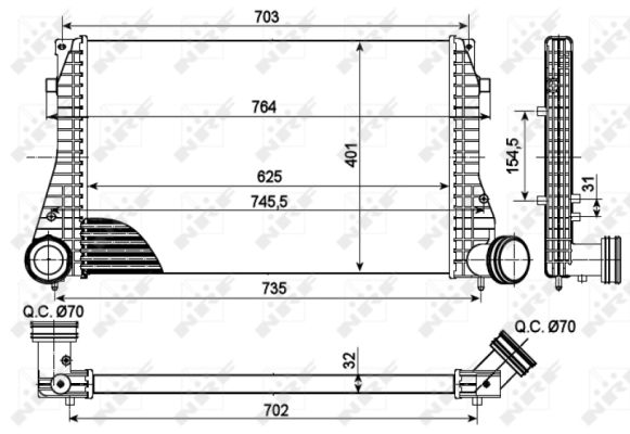 Intercooler radiateur de turbo NRF 30290 (X1)