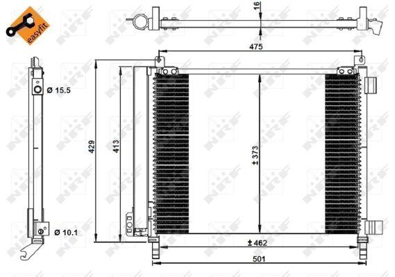 Condenseur / Radiateur de climatisation NRF 350228 (X1)