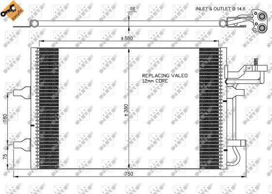 Condenseur / Radiateur de climatisation NRF 35770 (X1)