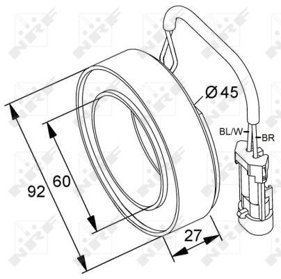 Bobine, compresseur-embrayage magnétique NRF 38420 (X1)