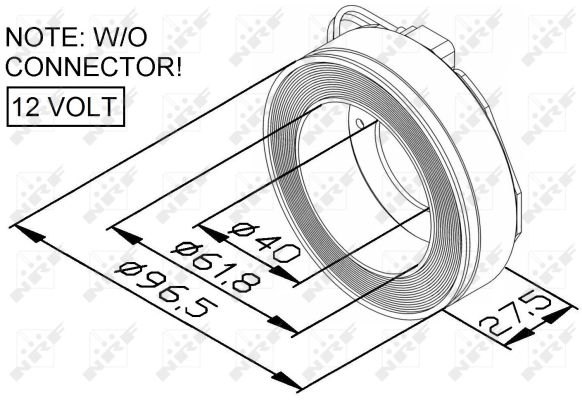 Bobine, compresseur-embrayage magnétique NRF 38447 (X1)