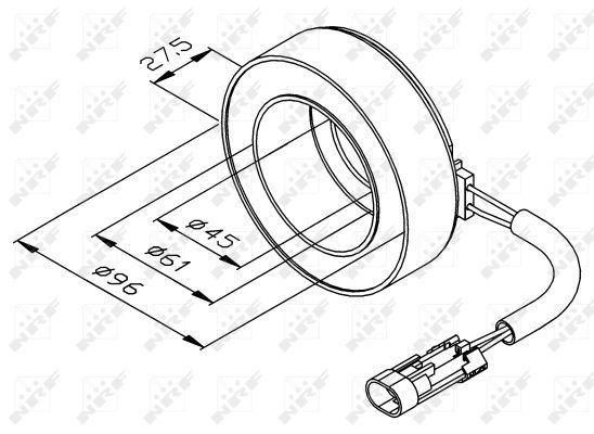 Bobine, compresseur-embrayage magnétique NRF 38470 (X1)
