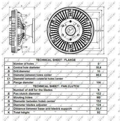 Embrayage de ventilateur refroidissement NRF 49430 (X1)