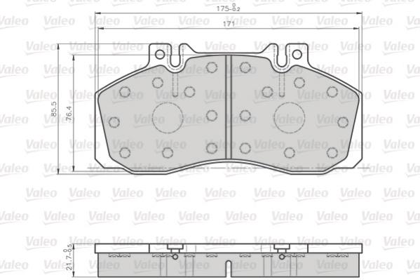 Kit de plaquettes de frein, frein à disque VALEO 872835 (Jeu de 4)