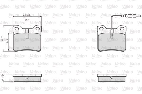 Kit de plaquettes de frein, frein à disque VALEO 872279 (Jeu de 4)