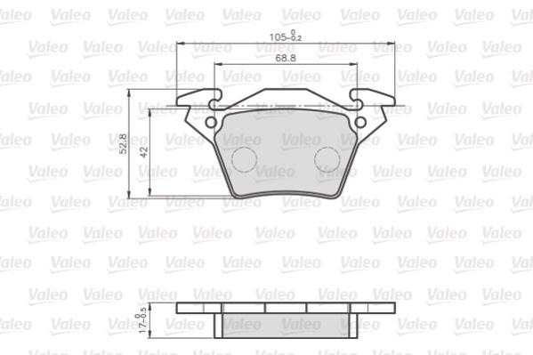 Kit de plaquettes de frein, frein à disque VALEO 872020 (Jeu de 4)