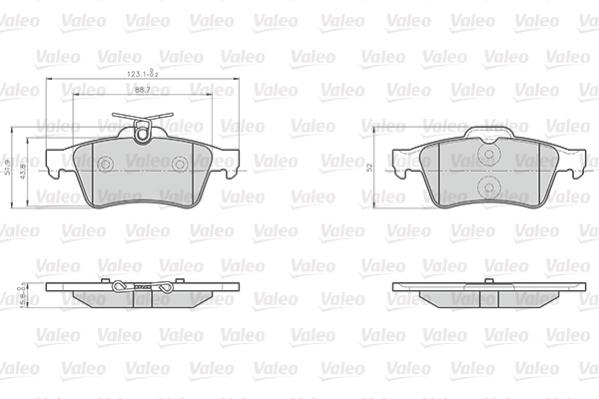 Kit de plaquettes de frein, frein à disque VALEO 872137 (Jeu de 4)