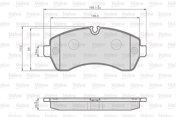 Kit de plaquettes de frein, frein à disque VALEO 872200 (Jeu de 4)