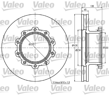 Disque de frein avant VALEO 187015 (X1)